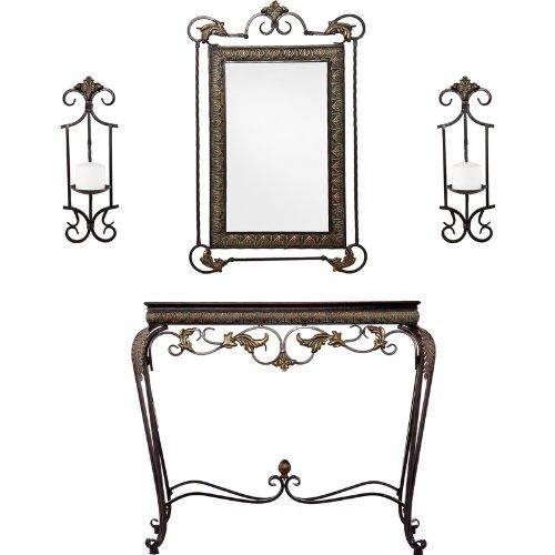 Capshaw Console/Mirror/Sconce Pair Set
