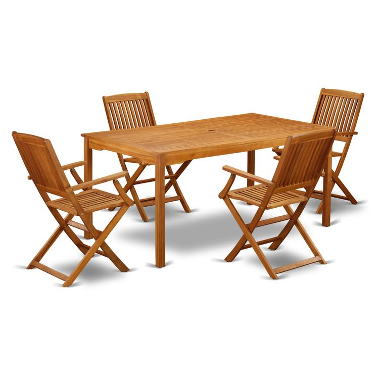 East West Furniture CMCM5CANA This 5 Pc Acacia Wood Courtyard Dining Sets offers an outdoor table and four patio dining chairs