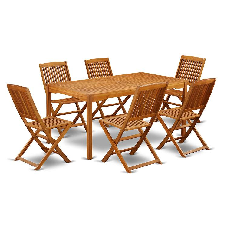 East West Furniture CMCM7CWNA This 7 Piece Acacia Solid wood Outside patio Dining Sets offers one outdoor table and Six patio dining chairs