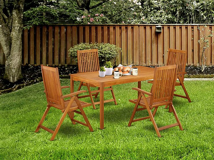 East West Furniture CMCN5NC5N This 5 Pc Acacia Outdoor Sets provides you an outdoor table and four foldable outdoor chairs