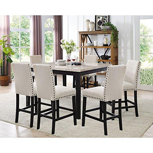 Azul 7-Piece Dining Set - Marble Table and 6 Fabric Chairs