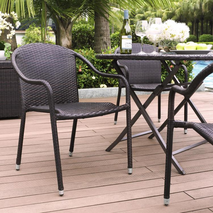 Crosley Palm Harbor Outdoor Wicker Stackable Chairs - Set Of 4 - [CO7109-BR]