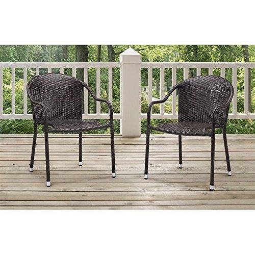 Crosley Palm Harbor Outdoor Wicker Stackable Chairs - Set Of 2 Brown