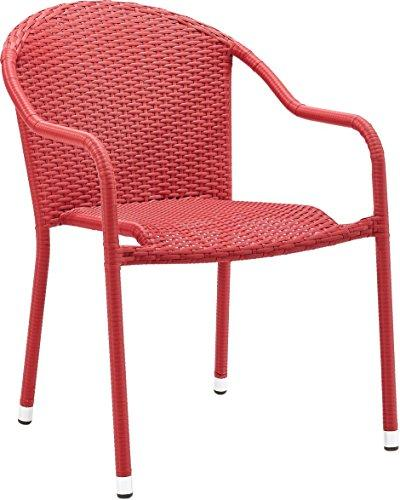 Crosley Palm Harbor Outdoor Wicker Stackable Chairs - Set Of 2 Red