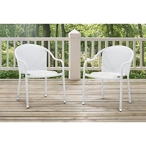 Crosley CO7137-BR Palm Harbor Outdoor Wicker Stackable Chairs 2pc Brown