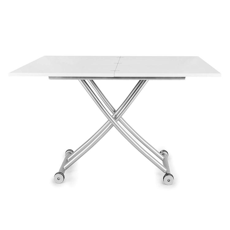 SpaceMaster Transforming X Coffee and Dining Table in High Gloss White Finish