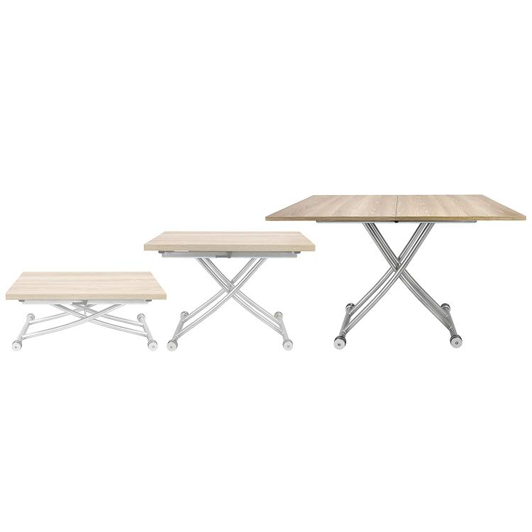 SpaceMaster Transforming X Coffee and Dining Table in Light Wood Finish