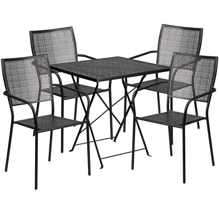 Square Indoor-Outdoor Steel Folding Patio Table Set
