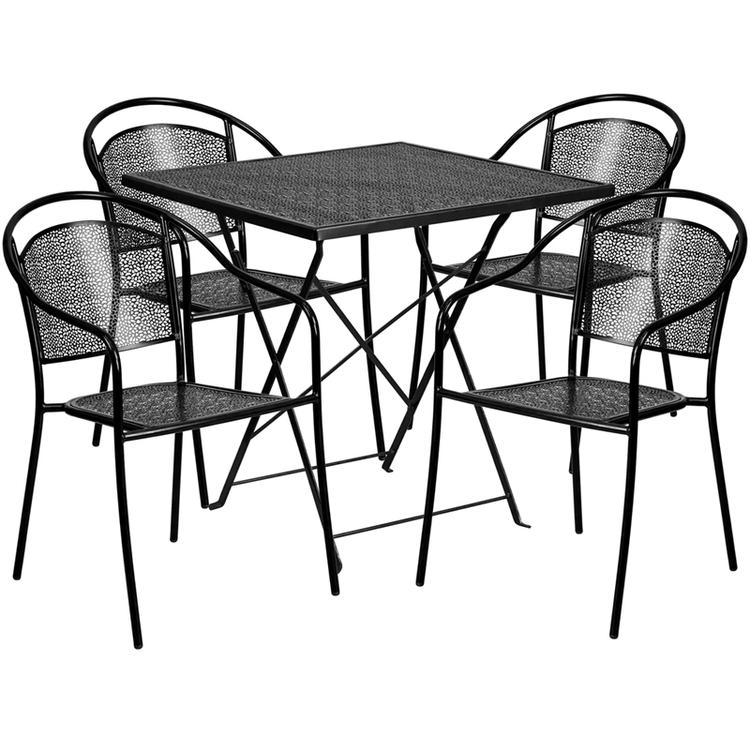 Flash Furniture Square Indoor-Outdoor Steel Folding Patio Table Set
