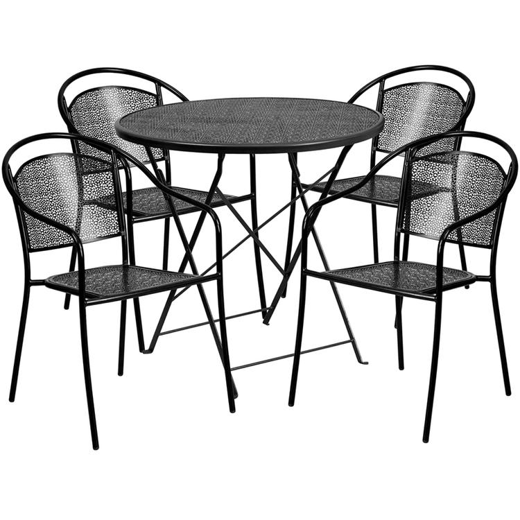 Round Indoor-Outdoor Steel Folding Patio Table Set