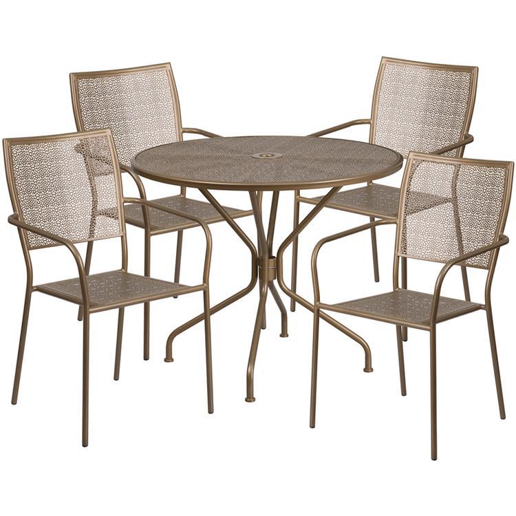 Round Indoor-Outdoor Steel Patio Table Set