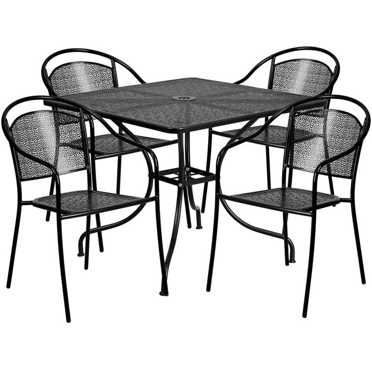 Flash Furniture Square Indoor-Outdoor Steel Patio Table Set