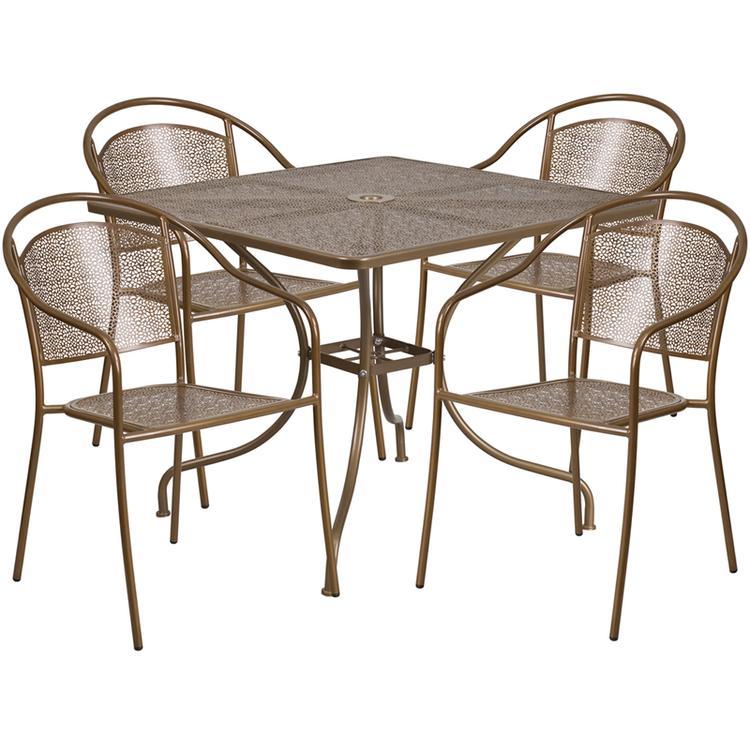 Flash Furniture Square Indoor-Outdoor Steel Patio Table Set