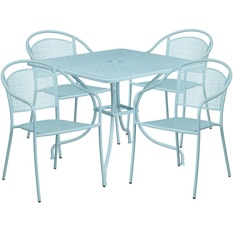 Square Indoor-Outdoor Steel Patio Table Set