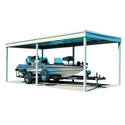Arrow Sheds Freestanding Carport/Patio Cover, 10x20, Hot Dipped Galvanized Steel with Vinyl Coating, Eggshell Finish, Flat Roof