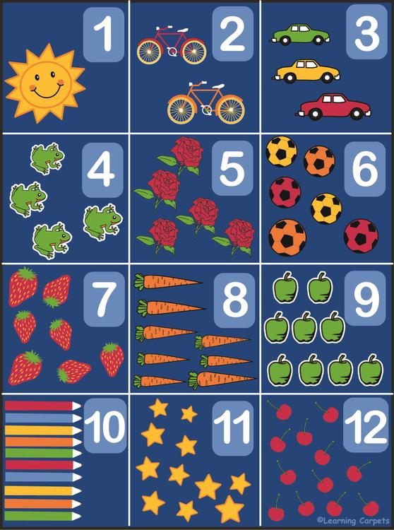 Counting Rug 1-12 - Rectangle Large