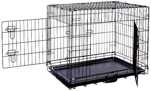 Folding Double-Door Metal Dog Crate with Divider Panel - 30