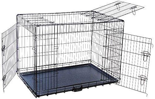 Folding Triple-Door Metal Dog Crate with Divider Panel - 48