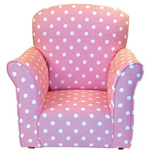 Child Rocker in Baby Pink w/White Polka Dot Printed Cotton