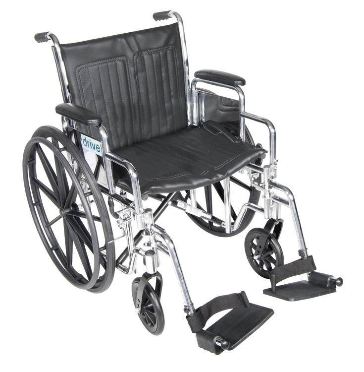 Chrome Sport Wheelchair, Detachable Full Arms, Swing away Footrests, 20