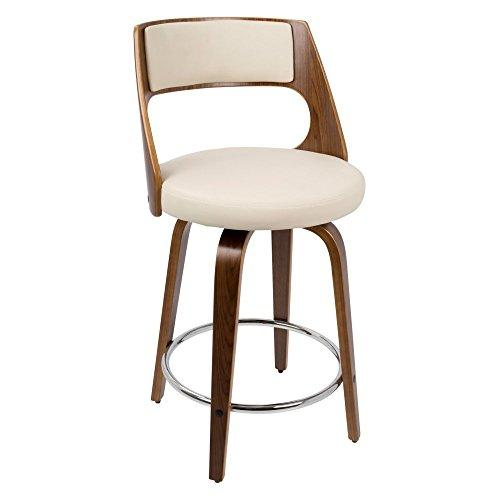 Cecina Fixed Height Modern Contemporary Counter Stool In Walnut And Cream By Lumisource