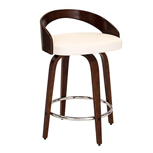 Grotto Mid-Century Modern Counter Stool with Walnut Wood and White PU Leather by LumiSource