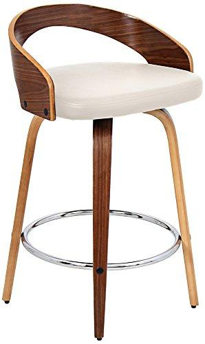 Grotto Mid-Century Modern Counter Stool with Walnut Wood and Cream PU Leather by LumiSource
