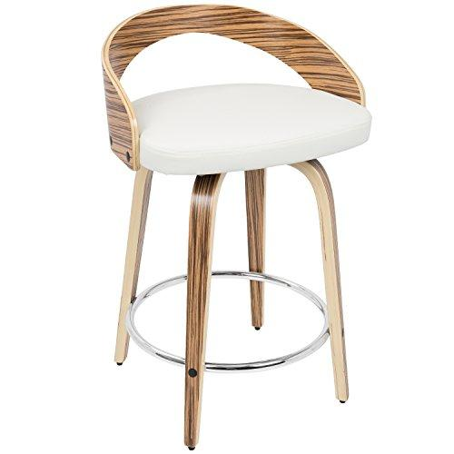 Grotto Mid-Century Modern Counter Stool in Zebra Wood and White PU by LumiSource