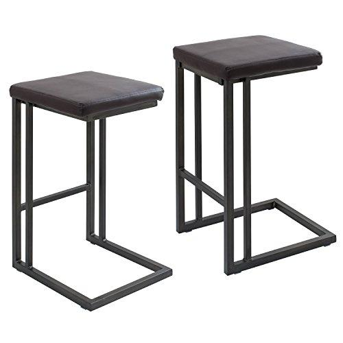 Pair of Roman Industrial Counter Stools in Espresso and Antique Frame by LumiSource