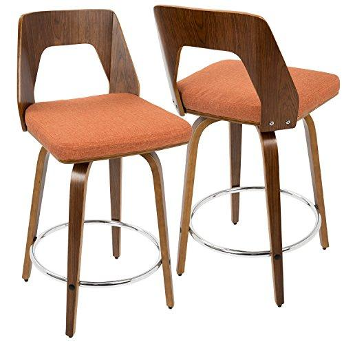 Trilogy Mid-Century Modern Counter Stool in Walnut Wood and Orange Fabric by LumiSource