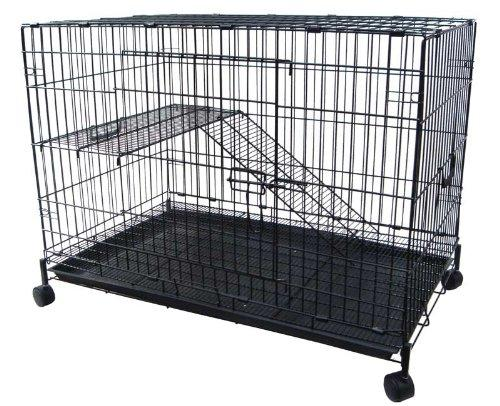 2 Level Ferret Cat Chinchilla Cage Crate, Black