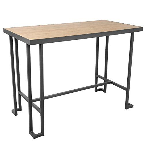 Roman Industrial Counter Table in Grey Metal and Natural Bamboo by LumiSource
