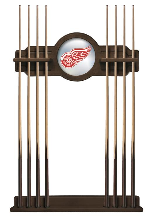 Detroit Red Wings Cue Rack in Chardonnay Finish