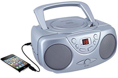 SYLVANIA SRCD243M SILVER Portable CD Boom Boxes with AM/FM Radio (Silver)