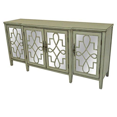 Isabelle 4 Door Breakfront Grey and Mirrored Sideboard