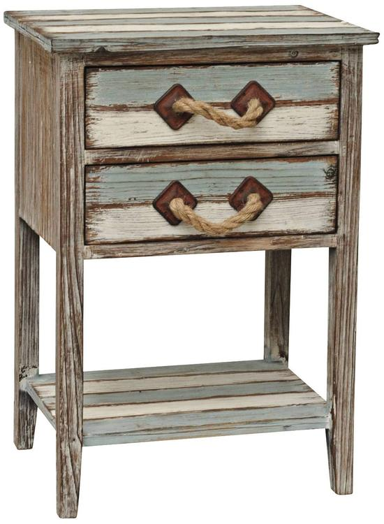 Crestview Nantucket 2 Drawer Weathered Wood Accent Table