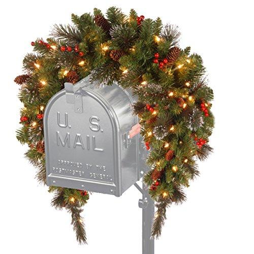 National Tree Crestwood Spruce Mailbox Swag with Battery Operated Warm White LED Lights