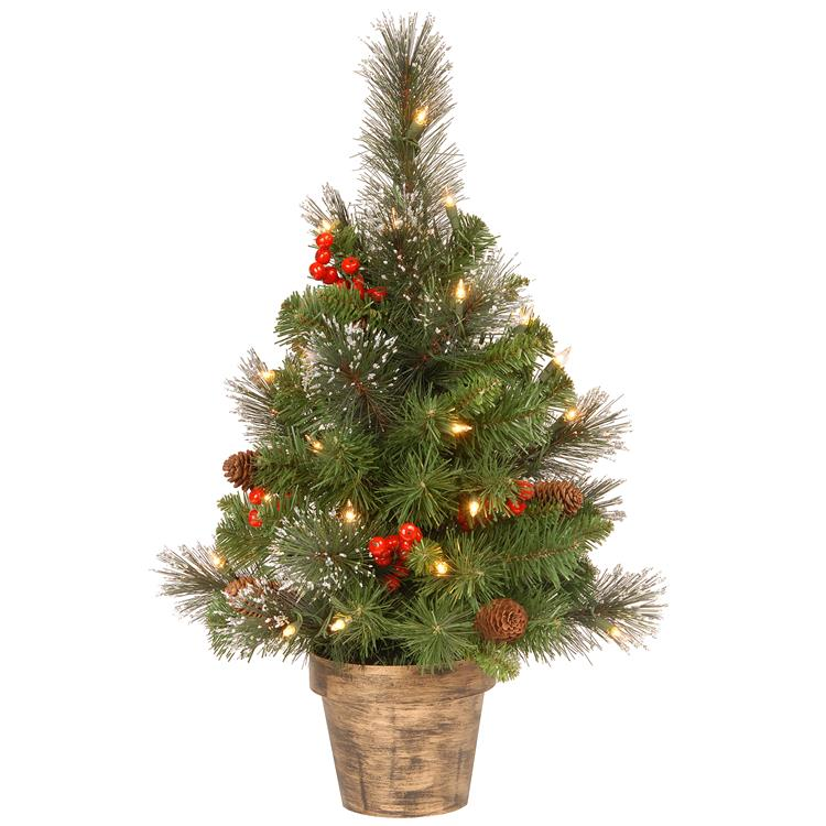 National Tree 2 ft Crestwood Spruce Tree with Clear Lights [Item # CW7-306-20]