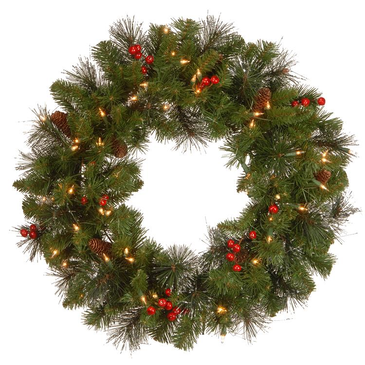 National Tree Crestwood Spruce Wreath with Clear Lights [Item # CW7-306-24W-1]