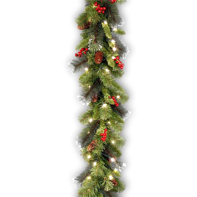 National Tree 9 ft Crestwood Spruce Garland with Clear Lights