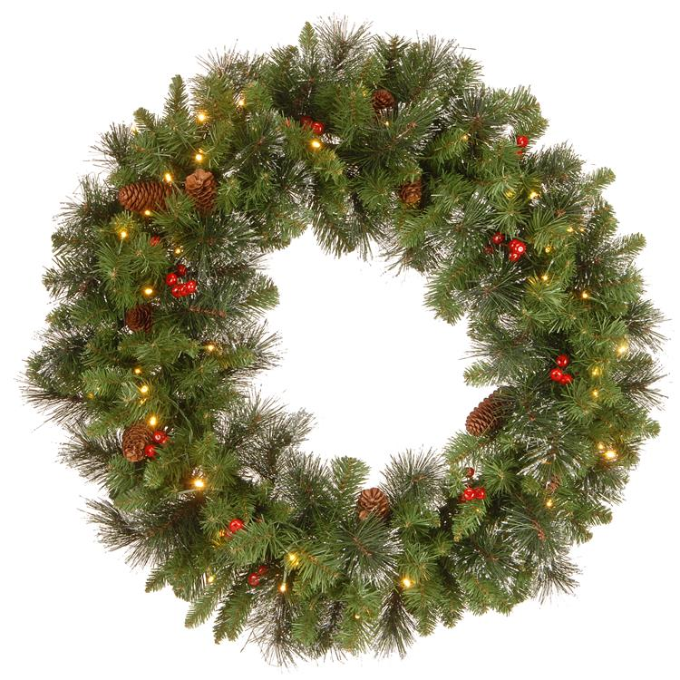 National Tree 30 inch Crestwood Spruce Wreath with Battery Operated Warm White LED Lights [Item # CW7-309L-30W-B1]