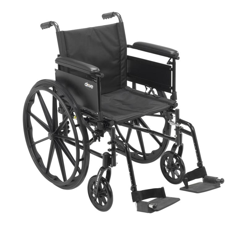Cruiser X4 Lightweight Dual Axle Wheelchair with Adjustable Detachable Arms, Full Arms, Swing Away Footrests, 20