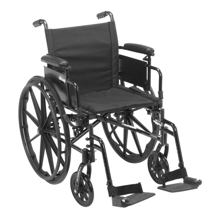Cruiser X4 Lightweight Dual Axle Wheelchair with Adjustable Detachable Arms, Desk Arms, Swing Away Footrests, 20