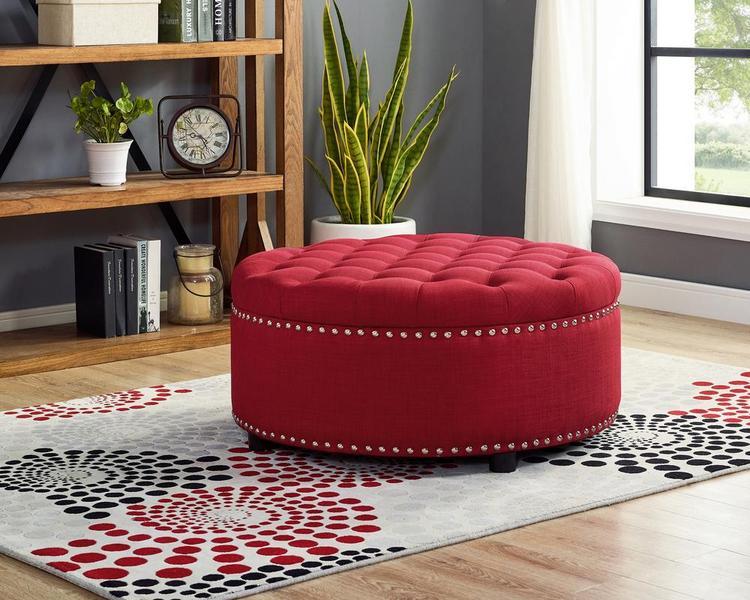 LILOLA Ramey Dorris Fabric Storage Ottoman [Item # D1030]