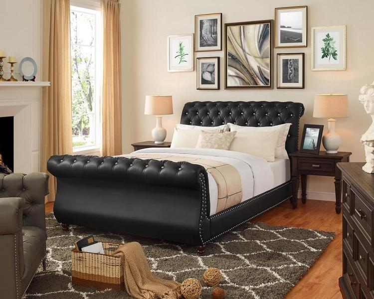 Lilola Home Spencer Black Leatherette California King Bed