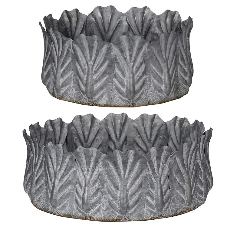 A&B Home Acoma Galvanized Metal Bowls - Set of 2