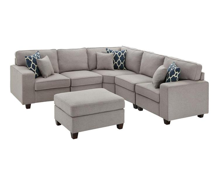 Lilola Home Sonoma 6Pc Modular Sectional Sofa with Ottoman [Item # D6015-3]