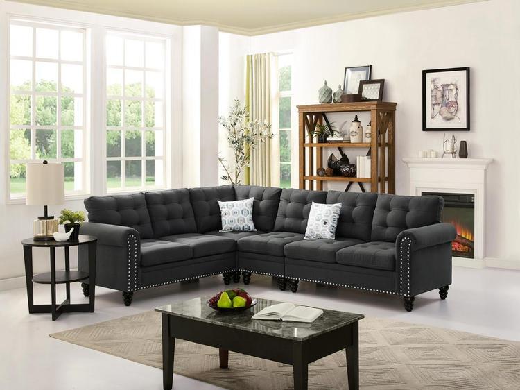 LILOLA Ramona Linen Sectional Sofa, Ash Black