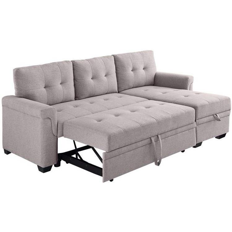 Lilola Home Lucca Linen Reversible Sleeper Sectional Sofa [Item # D6118]
