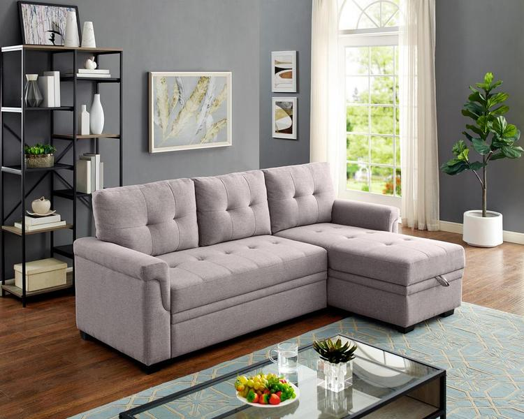 Lilola Home LILOLA Lucca Linen Reversible Sleeper Sectional Sofa [Item # D6118]
